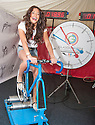 Miss Scotland 2013, Jamey Bowers, takes part in the cycle challenge as the Glasgow 2014 Commonwealth Games 1 year countdown begins.