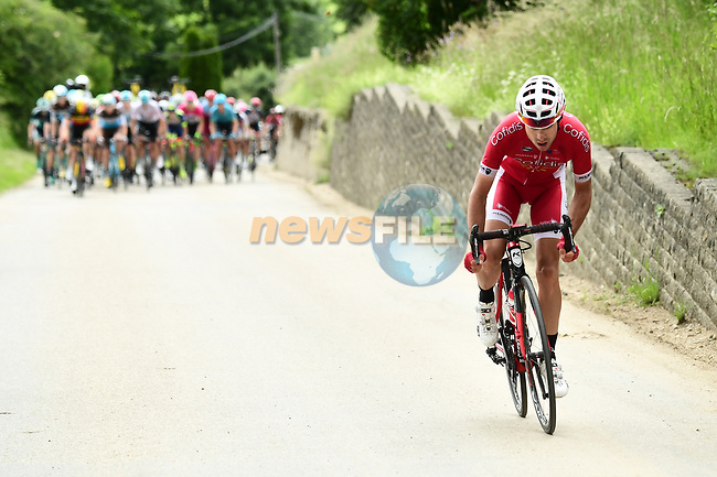 Nicolas Edet (FRA) Cofidis pulls clear of the peleton during Stage 4 of the 2018 Criterium du Dauphine 2018 running 181km from Chazey sur Ain to Lans en Vercors, France. 7th June 2018.<br /> Picture: ASO/Alex Broadway | Cyclefile<br /> <br /> <br /> All photos usage must carry mandatory copyright credit (© Cyclefile | ASO/Alex Broadway)