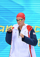 August 01, 2012..Francesca Halsall arrives to compete in Women's 100m Freestyle Semifinal at the Aquatics Center on day five of 2012 Olympic Games in London, United Kingdom.