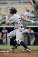 Right fielder Dustin Fowler (18) of the Charleston RiverDogs bats in a game against the Kannapolis Intimidators on Saturday, June 28, 2014, at CMC-Northeast Stadium in Kannapolis, North Carolina. Kannapolis won, 4-3. (Tom Priddy/Four Seam Images)