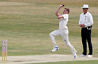 Gus Atkinson of Surrey in bowling action during Essex CCC vs Surrey CCC, Bob Willis Trophy Cricket at The Cloudfm County Ground on 8th August 2020