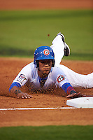 Chattanooga Lookouts shortstop Jorge Polanco (11) slides into third during a game against the Jacksonville Suns on April 30, 2015 at AT&T Field in Chattanooga, Tennessee.  Jacksonville defeated Chattanooga 6-4.  (Mike Janes/Four Seam Images)