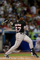 9 March 2009: #67 Gregory Halman of The Netherlands hits the ball in the first inning during the 2009 World Baseball Classic Pool D game 4 at Hiram Bithorn Stadium in San Juan, Puerto Rico. Puerto Rico wins 3-1 over Netherlands