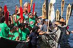 Canoe Journey, Paddle to Nisqually, 2016,  Olympia, Bella Bella, Heiltsuk Nation, greeted by Qatuwas, Cowichan tribe, Washington, 7-30-2016, Salish Sea, Puget Sound, Washington State, USA,