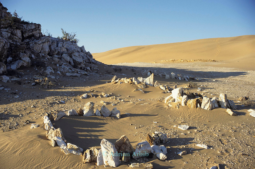 The  remnants of  early settlement in sand and sand dunes ..in the Namib Naukluft desert.  Access is restricted due to Diamond mining activity by DeBeers.