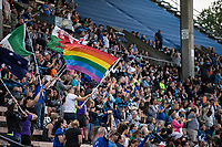 Seattle, WA - Saturday July 22, 2017: Fans during a regular season National Women's Soccer League (NWSL) match between the Seattle Reign FC and Sky Blue FC at Memorial Stadium.