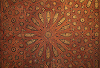 Inlaid ceiling of the Gilded Room or Cuarto Dorado, built under Mohammed V in the 14th century, in the Comares Palace, Alhambra, Granada, Andalusia, Southern Spain. The Alhambra was begun in the 11th century as a castle, and in the 13th and 14th centuries served as the royal palace of the Nasrid sultans. The huge complex contains the Alcazaba, Nasrid palaces, gardens and Generalife. Granada was listed as a UNESCO World Heritage Site in 1984. Picture by Manuel Cohen