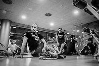 John Degenkolb (DEU/Trek-Segafredo) doing stretch exercises after a 6+ hr long day on the bike<br /> <br /> Team Trek-Segafredo Training Camp <br /> january 2017, Mallorca/Spain