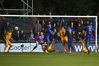 Tyrique Hyde of Maldon fires over during Maldon & Tiptree vs Newport County, Emirates FA Cup Football at the Wallace Binder Ground on 29th November 2019