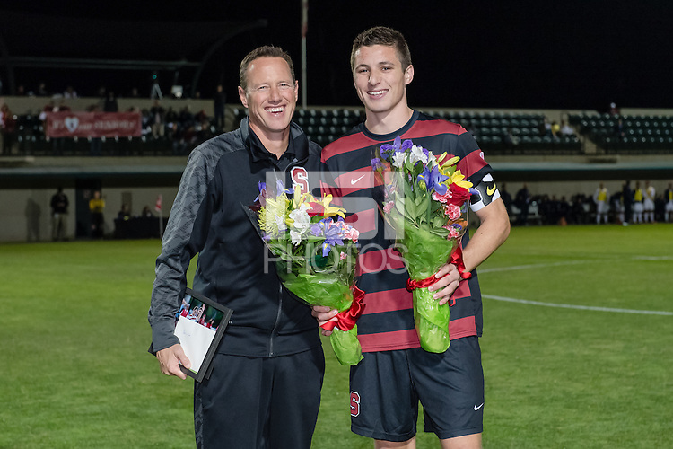 November 13, 2013: JJ Koval and Head Coach Jeremy Gunn during the senior day ceremony before the Stanford vs Cal men's soccer match in Stanford, California.  Stanford won 2-1 in overtime.