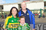 Pictured at the Clare v Kerry game in Limerick on Saturday evening, from left: Geraldine Cleary, Harry Meehan and Kevin Meehan, all from Tralee..