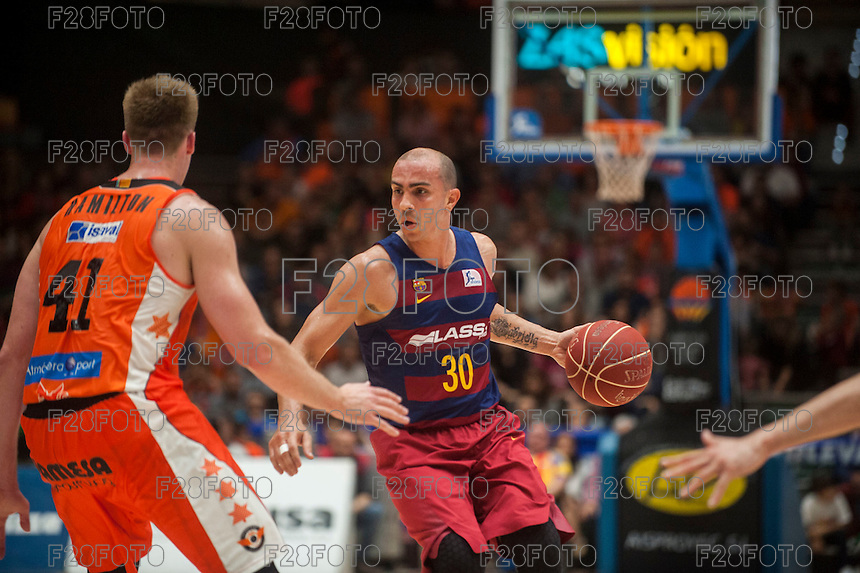 VALENCIA, SPAIN - MARCH 8: Carlos Arroyo, Hamilton during ENDESA LEAGUE match between Valencia Basket Club and Barcelona at Fonteta Stadium on March, 2016 in Valencia, Spain