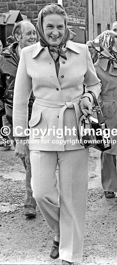 Mrs Celia Whitelaw, wife of William Whitelaw, secretary of state for N Ireland, arriving for a visit to the Donaghadee Lifeboat Station, Co Down,  28th March 1973. She also had a short trip on the local lifeboat, the Sir Samuel Kelly.  197303280158k<br />
