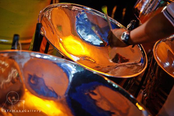 Panmans hands playing pan, Silver Stars orchestra, Trinidad