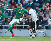 June 11th 2017, Dublin, Republic Ireland; 2018 World Cup qualifier, Republic of Ireland versus Austria;  James McClean of Ireland battles with Stefan Lainer of Austria for the ball