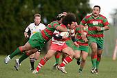 T. Fanaloa is hit hard by a flying S. Kata. Counties Manukau Premier McNamara Cup Semi Final rugby game between Karaka & Waiuku, played at  Karaka on 28th July 2007. Karaka won 18 - 15.