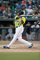 Right fielder Wagner Lagrange (23) of the Columbia Fireflies bats in a game against the Charleston RiverDogs on Saturday, April 6, 2019, at Segra Park in Columbia, South Carolina. Columbia won, 3-2. (Tom Priddy/Four Seam Images)