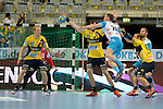 GER - Mannheim, Germany, September 23: During the DKB Handball Bundesliga match between Rhein-Neckar Loewen (yellow) and TVB 1898 Stuttgart (white) on September 23, 2015 at SAP Arena in Mannheim, Germany. Final score 31-20 (19-8) .  Stefan Kneer #4 of Rhein-Neckar Loewen, Gedeon Guardiola Villaplana #30 of Rhein-Neckar Loewen, Michael Spatz #26 of TVB 1898 Stuttgart, Kim Ekdahl du Rietz #60 of Rhein-Neckar Loewen<br /> <br /> Foto &copy; PIX-Sportfotos *** Foto ist honorarpflichtig! *** Auf Anfrage in hoeherer Qualitaet/Aufloesung. Belegexemplar erbeten. Veroeffentlichung ausschliesslich fuer journalistisch-publizistische Zwecke. For editorial use only.