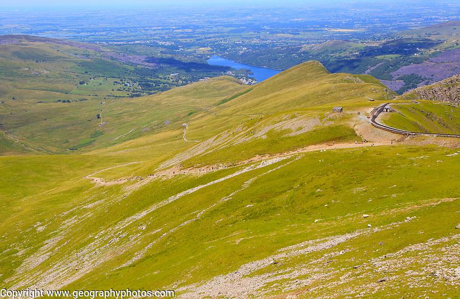Upland landscape view to Llanberis, Mount Snowdon, Gwynedd, Snowdonia, north Wales, UK