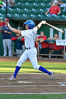 Gavin Lux (7) of the Ogden Raptors follows through on his swing against the Orem Owlz during the Pioneer League game at Lindquist Field on September 9, 2016 in Ogden, Utah. This was Game 1 of the Southern Division playoff. Orem defeated Ogden 6-5. (Stephen Smith/Four Seam Images)