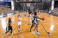 11 November 2011:  FIU's Jerica Coley (22) blocks a shot by Jacksonville's Crystal Bell (21) in the first half as the FIU Golden Panthers defeated the Jacksonville University Dolphins, 63-37, at the U.S. Century Bank Arena in Miami, Florida.