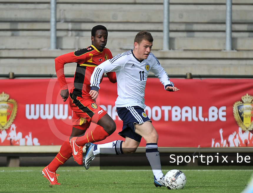 Scotland U19 - Belgium U19 : Ryan Fraser (11) and David Iboma (left).foto DAVID CATRY / Nikonpro.be
