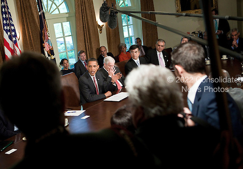 United States Secretary of Defense Robert M. Gates (2L), U.S. Secretary of Veterans Affairs Eric K. Shinseki (2R), U.S. Secretary of Transportation Raymond L. LaHood (R) and others listen as U.S. President Barack Obama speaks to the press after a meeting in the Cabinet Room of the White House June 22, 2010 in Washington DC.  President Obama spoke about the war on terrorism, the Gulf of Mexico Oil spill and Gen. Stanley A. McChrystal's comments about the administration in a Rolling Stone..Credit: Brendan Smialowski - Pool via CNP