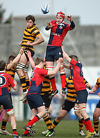 4 March 2013; Ballyclare second row Matthew Mooney wins this lineout during the schools cup semi-final clash between RBAI and Ballyclare High School at Ravenhill Belfast. Photo Credit : John Dickson / DICKSONDIGITAL