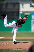 Batavia Muckdogs relief pitcher Evan Estes (33) delivers a pitch during a game against the Auburn Doubledays on September 3, 2018 at Dwyer Stadium in Batavia, New York.  Auburn defeated Batavia 8-5.  (Mike Janes/Four Seam Images)