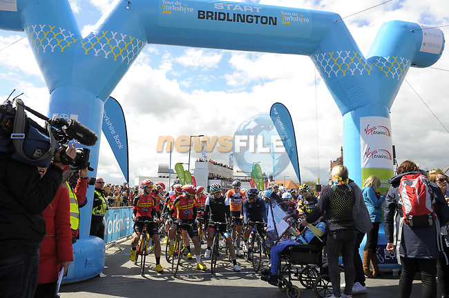 Waiting for the start of Stage 1 of the Tour de Yorkshire 2017 running 174km from Bridlington to Scarborough, England. 28th April 2017. <br /> Picture: ASO/P.Ballet | Cyclefile<br /> <br /> <br /> All photos usage must carry mandatory copyright credit (&copy; Cyclefile | ASO/P.Ballet)