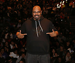 "James Monroe Iglehart  during The Rockefeller Foundation and The Gilder Lehrman Institute of American History sponsored High School student #eduHam matinee performance of ""Hamilton"" Q & A at the Richard Rodgers Theatre on November 28, 2018 in New York City."