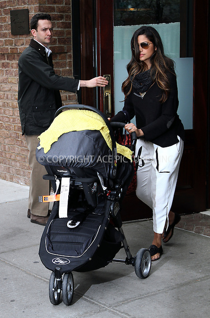 WWW.ACEPIXS.COM......April 22 2013, New York City....Camila Alves leaves a downtown hotel with her son Livingston on April 22 2013......By Line: Zelig Shaul/ACE Pictures......ACE Pictures, Inc...tel: 646 769 0430..Email: info@acepixs.com..www.acepixs.com