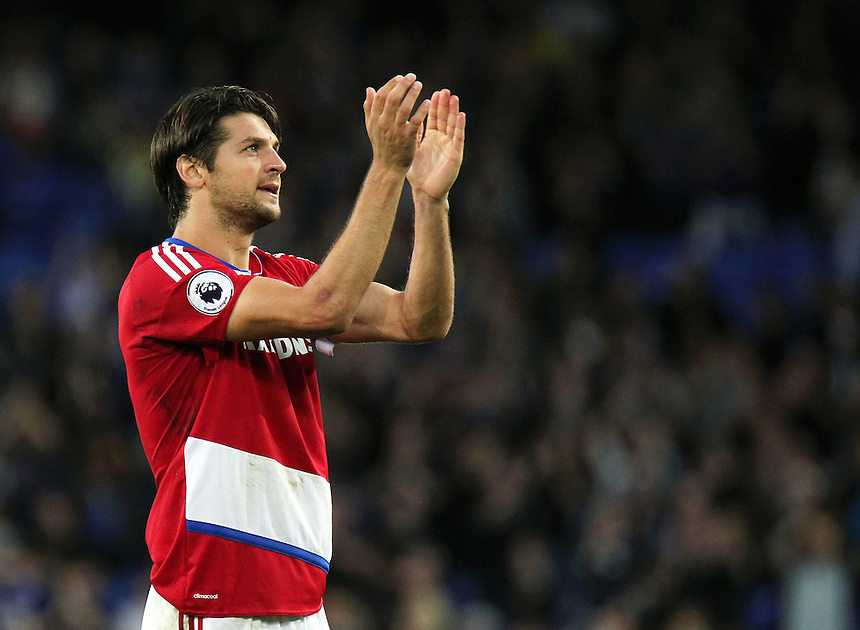 Middlesbrough's George Friend applauds the travelling fans at the end of the game<br /> <br /> Photographer Rich Linley/CameraSport<br /> <br /> The Premier League - Everton v Middlesbrough - Saturday 17th September 2016 - Goodison Park - Liverpool<br /> <br /> World Copyright &copy; 2016 CameraSport. All rights reserved. 43 Linden Ave. Countesthorpe. Leicester. England. LE8 5PG - Tel: +44 (0) 116 277 4147 - admin@camerasport.com - www.camerasport.com