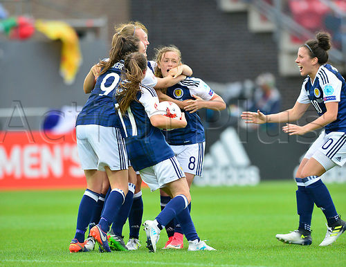 July 23rd 2017, Sparta Stadion, Rotterdam, Netherlands; Womens Euro 2017 Finals, Group D Match; Scotland versus Portugal;  goal celebration for Scotland no * Erin Cuthbert