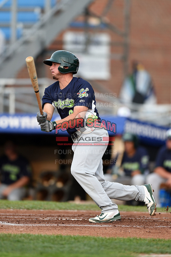 Vermont Lake Monsters designated hitter Max Kuhn (9) at bat during a game against the Jamestown Jammers on July 12, 2014 at Russell Diethrick Park in Jamestown, New York.  Jamestown defeated Vermont 3-2.  (Mike Janes/Four Seam Images)