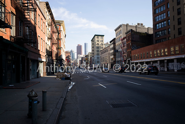 New York, New York<br /> March 20, 2020<br /> 4:02 PM<br /> <br /> Manhattan under the coronavirus pandemic. <br /> <br /> Canal street Manhattan at Friday rush-hour.<br /> <br /> Normally this street would be filled with cars and people.