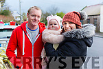 Liam and Amelia Diggins from Causeway with Majella O'Shea at the James Ashe Memorial Tractor run in Boolteens on Sunday.