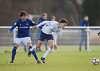 Luke Amos of Tottenham Hotspur battles with Fraser Hornby of Everton during the U23 - Premier League 2 match between Tottenham Hotspur U23 and Everton at Tottenham Training Ground, Hotspur Way, England on 15 January 2018. Photo by Vince  Mignott / PRiME Media Images.