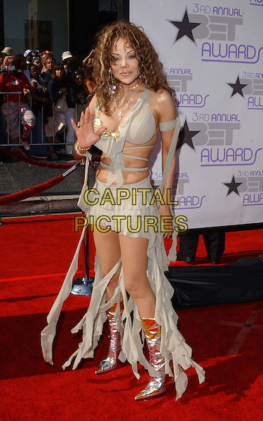 LA TOYA JACKSON.At The 3rd Annual BET Awards Held at The Kodak Theater in Hollywood .full length, full-length, waving, ripped, torn, silver boots, revealing.www.capitalpictures.com.sales@capitalpictures.com.©Capital Pictures