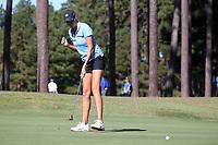CHAPEL HILL, NC - OCTOBER 11: Ava Bergner of the University of North Carolina sinks a putt at UNC Finley Golf Course on October 11, 2019 in Chapel Hill, North Carolina.