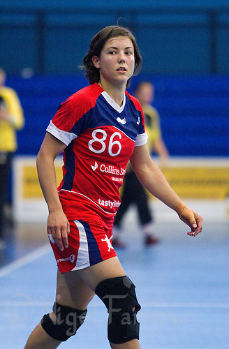 30 MAY 2012 - LONDON, GBR - Marie Gerbron (GBR) of Great Britain waits for a pass during the women's 2012 European Handball Championship qualification match against Montenegro at the National Sports Centre in Crystal Palace, Great Britain .(PHOTO (C) 2012 NIGEL FARROW)