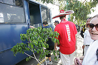 United States fans who had taken public transit to the game are placed on a Mexican police transport bus after they leave Azteca Stadium under a police escort. Mexican police officers in riot gear separated the team's fan supporters to prevent any violence and fearing for the fan's safety, Mexican police transported the United States fans to a different subway stop to travel back to their hotels. The United States Men's National Team played Mexico in a CONCACAF World Cup Qualifier match at Azteca Stadium in, Mexico City, Mexico on Wednesday, August 12, 2009.
