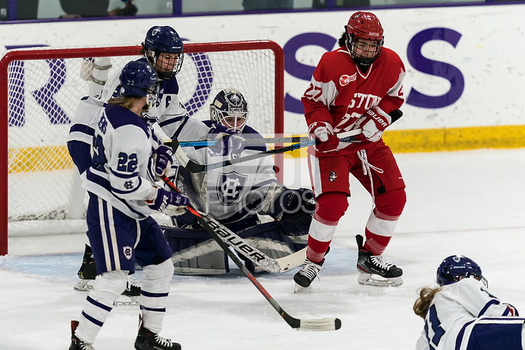WORCESTER, MA - FEBRUARY 08: Nara Elia #27 of Boston University holds defender's stick during a game between Boston University and College of the Holy Cross at Hart Center Rink on February 08, 2020 in Worcester, Massachusetts.