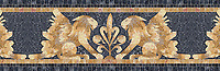 "17 5/8"" Griffin border, a hand-chopped stone mosaic, shown in tumbled Crema Valencia, Persian Gold, Giallo Reale, Dijon Gold, Travertine White, and Nero Marquina."
