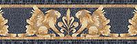 "17 5/8"" Griffin border, a hand-chopped stone mosaic, shown in tumbled Crema Valencia, Persian Gold, Giallo Reale, Dijon Gold, Travertine White, and Nero Marquina."
