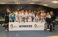 Swansea City celebrate after winning the FAW Youth Cup match between Swansea City and Cambrian and Clydach at The Cardiff City Stadium, Cardiff, Wales, UK. Sunday 23 April 2017