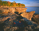 Big Bay State Park, WI<br /> Morning light on sculpted sandstone and waters of Lake Superior on Big Bay Point in autumn on Madeline Island, Apsotle Islands, Ashland County