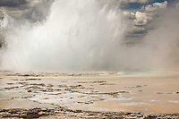 Great Fountain Geyser erupts, Yellowstone National Park