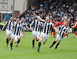 Rochdale's Gary Jones leads the celebrations after they won a penalty shoot out  reaching the division two play off final during the League Two playoff match at The Spotland, Stadium, Rochdale. Picture date 10th May 2008. Picture credit should read: Simon Bellis/Sportimage