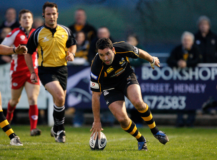 Photo:Richard Lane/Richard Lane Photography. London Wasps A v Gloucester United. Guinness A League. 09/04/2009. Wasps' Jeremy Staunton touches down to score a try.